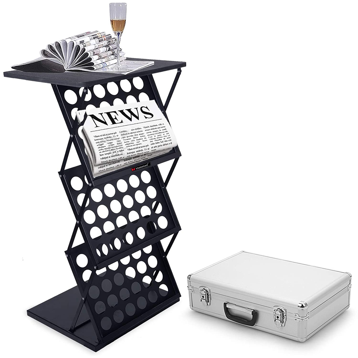 Voilamart A3 Exhibition Stand, 3-Shelf Folding Floor Display Stand Portable Magazine Brochure Leaflet Rack Stand Catalogue Reference Collapsible Display Stands for Exhibition Trade Show Reception with Table Surface, Carry Case