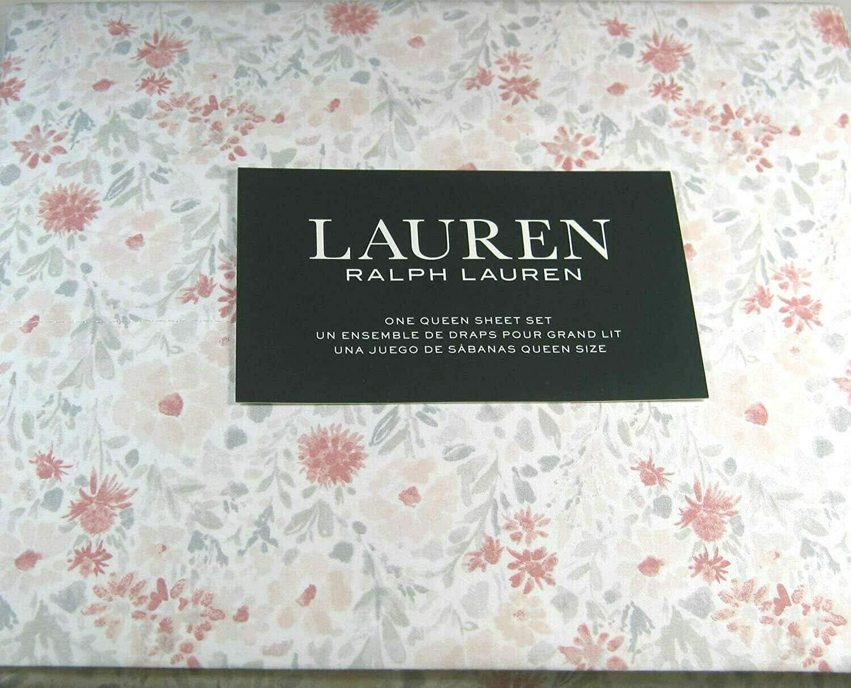 Lauren Queen Size Floral Print Sheet Set Pink and Gray 100% Cotton