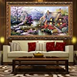 Anself DIY Handmade Needlework Cross Stitch Set Embroidery Kit Precise Printed Garden Cottage Design Cross-Stitching 64 * 37cm Home Decoration