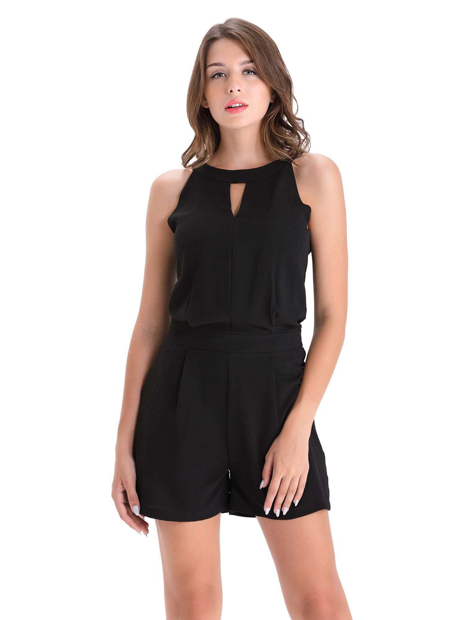 BARGOOS Women All-Black Cut Out Halter Neck Rompers Sleeveless Playsuit Summer Casual High Waist Mini Jumpsuits