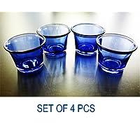 Ascent Homes Glass Tea Light Candle Holder (Blue) - Set of 4