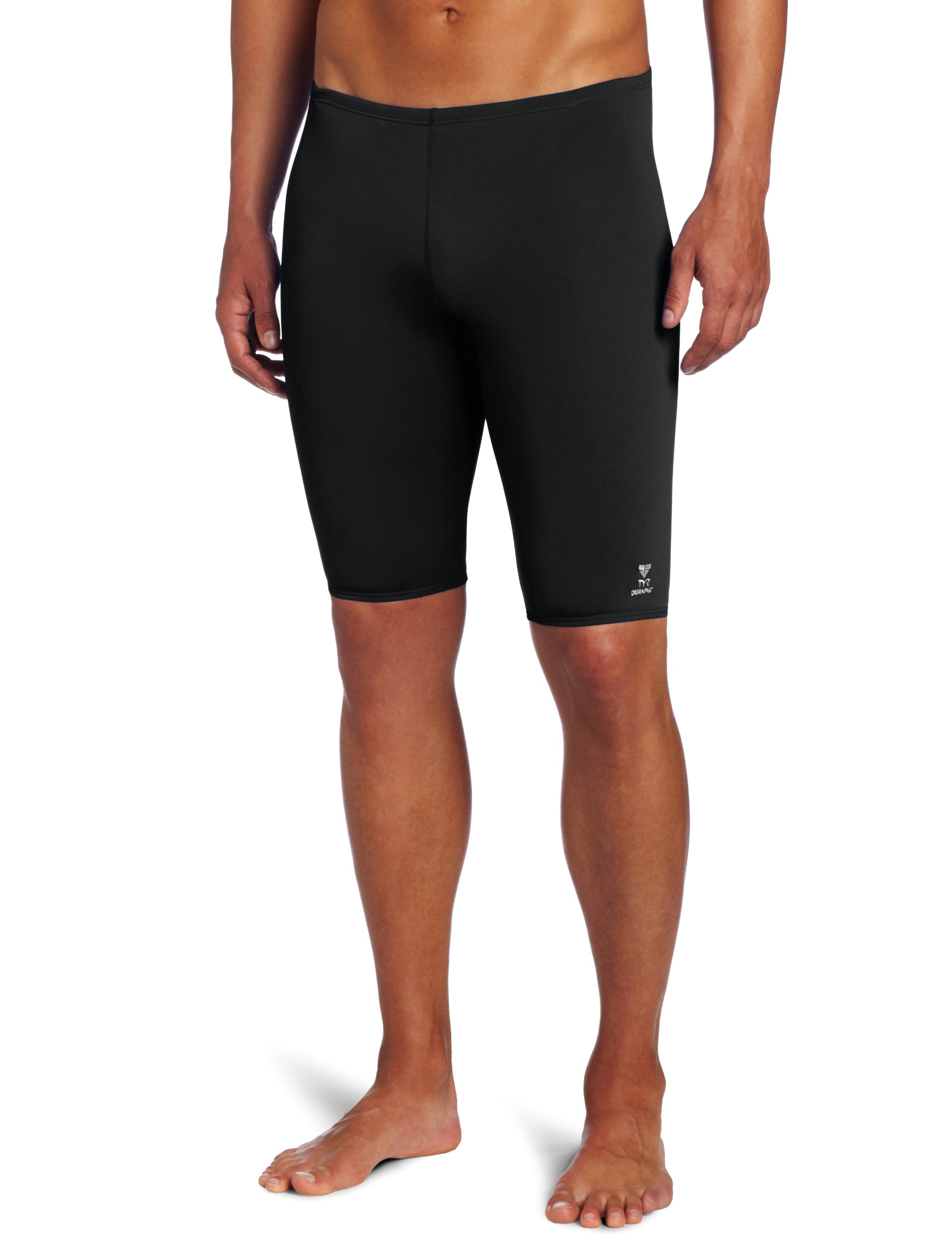 TYR Men's Solid Durafast Jammer Swim Suit (Black, 34)