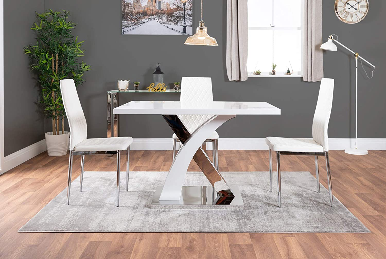 Dining Table + 4 Black Milan Chairs Atlanta 4 Rectangle White High Gloss Chrome Metal Modern Stylish 4 Seater Dining Table and 4 Modern Stylish Milan Dining Chairs Set