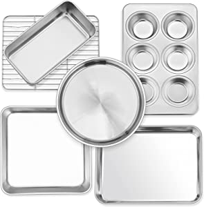 P&P CHEF 6-Piece Small Toaster Oven Pan Set, Stainless Steel Bakeware Set, Toaster Oven Tray with Rack, Square/Round Cake Pan, Loaf Pan & Muffin Pan, Non Toxic & Easy Clean