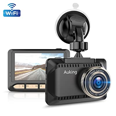 AuKing WiFi Dash Cam 1080P Full HD Dash Camera for Cars 2.45 Inch IPS Screen Car Camera Driving Recorder with Phone APP, G-Sensor, 170° Wide Angle, WDR, Loop Recording, Night Vision, Parking Monitor: Electronics [5Bkhe1500180]
