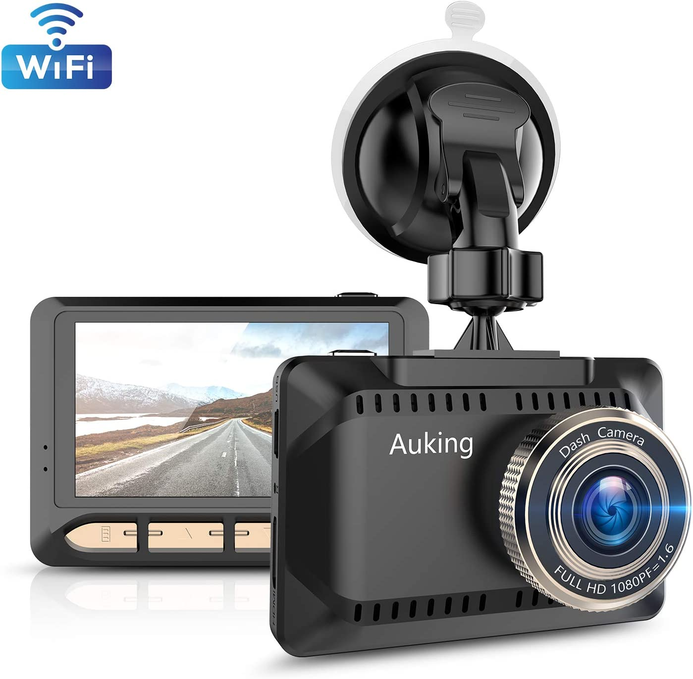 Loop Recording G-Sensor AuKing WiFi Dash Cam 1080P Full HD Dash Camera for Cars 2.45 Inch IPS Screen Car Camera Driving Recorder with Phone APP Parking Monitor 170/° Wide Angle WDR Night Vision