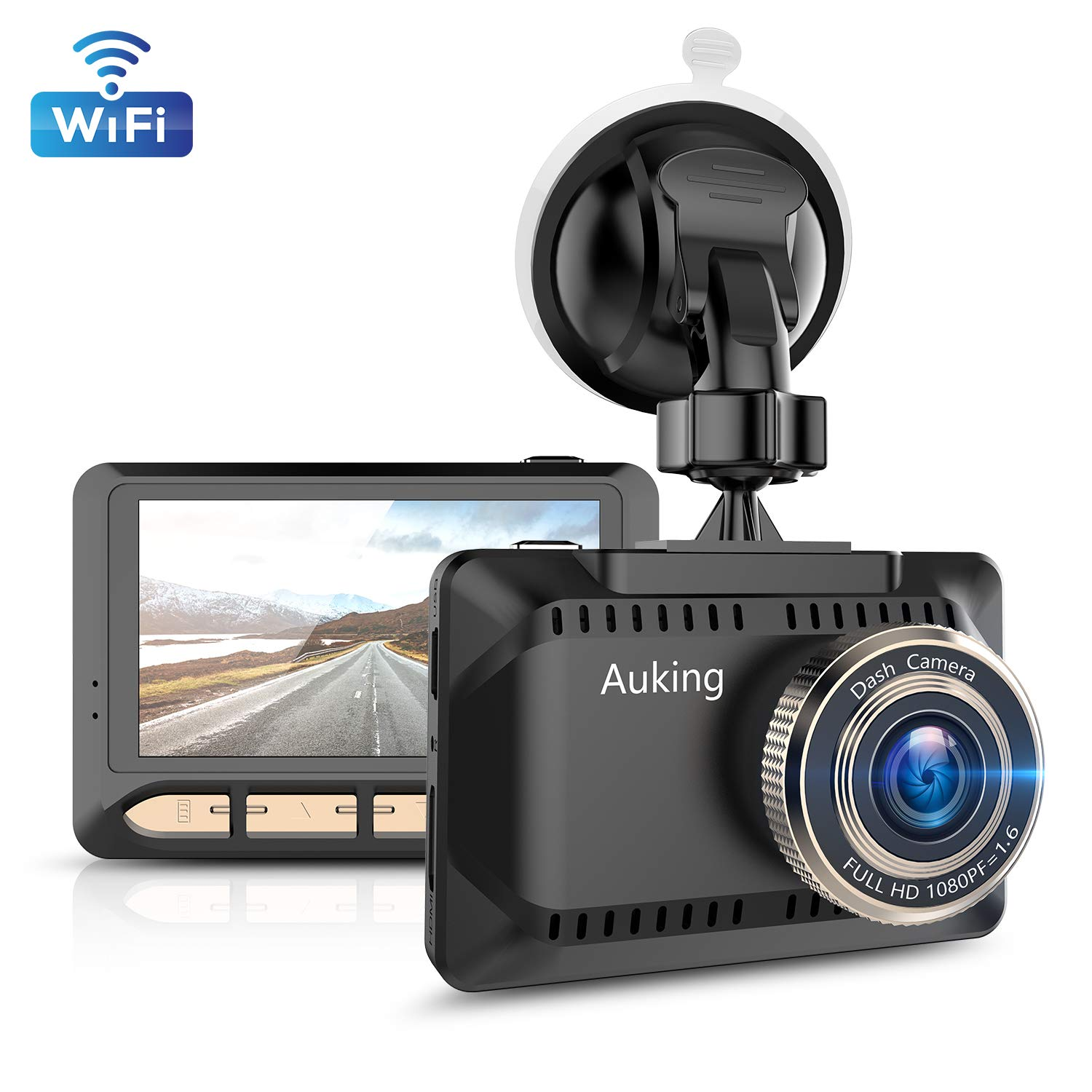 AuKing WiFi Dash Cam 1080P Full HD Dash Camera for Cars 2.45 Inch IPS Screen Car Camera Driving Recorder with Phone APP, G-Sensor, 170° Wide Angle, WDR, Loop Recording, Night Vision, Parking Monitor by AuKing