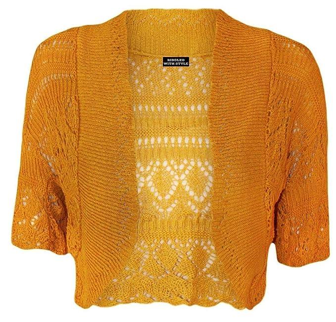 Chaqueta estilo bolero de punto para mujer. Tallas grandes 44-48 amarillo Mostaza