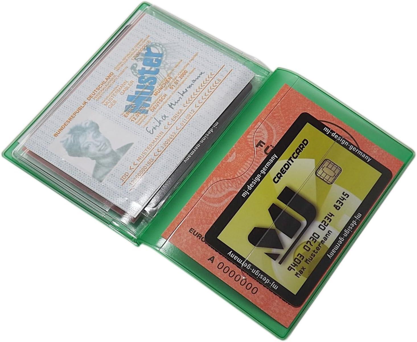 Bleu Pochette de Carte didentit/é et Porte Carte de cr/édit 10 Compartiments MJ-Design-Germany Made in UE en diverses Couleurs et Designs