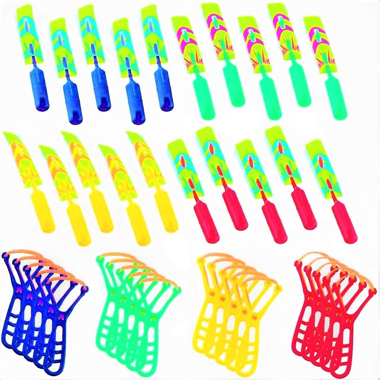 Helicopters 40Piece with Whistle LED Lights for Kids Rocket Slingshot Flying Copters - 20 Slingshot+20Helicopter Glow in The Dark Party Supplies Outdoor Game for Child Kids Birthday Gifts