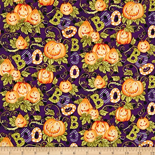 Springs Creative Products 0593840 Springs Creative Seasonal Halloween Happy Haunting Pattern Multi Fabric by The Yard, Multicolor -
