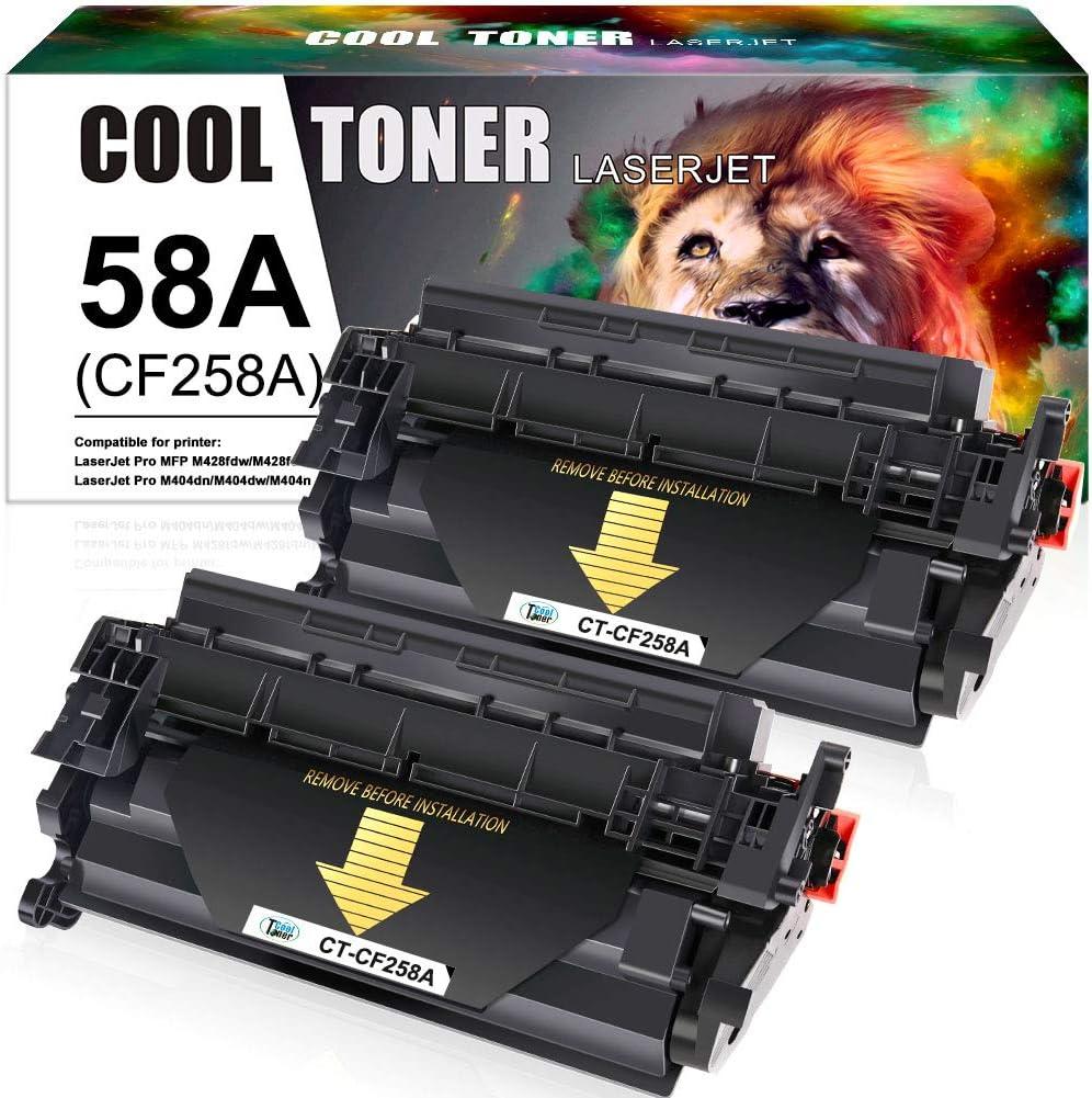Cool Toner Compatible Toner Cartridge Replacement for HP 58A CF258A 58X CF258X HP Laserjet Pro M404n M404dn MFP M428fdw M428fdn M404dw M428dw M404 M428 M304 Printer Toner Ink (Black, 2-Pack)