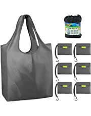 "Reusable Grocery Bags Foldable Shopping Bags Folding Shopping Tote Bag Fits in Pocket W15"" X H15.8"" + Handles 9.5"" X D4.7"" 6 Grey"