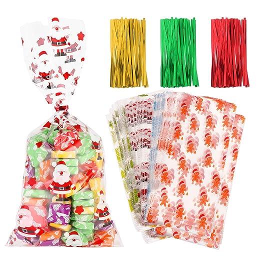 Toyvian - Bolsas de regalo de Navidad transparentes con 300 lazos para fiestas de Navidad, bodas (paquete de 200)
