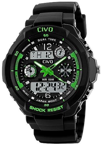 7a497b1607ac Digital Reloj de los Hombres Chicos Electrónico Resistente Contra Agua de  50m Militar Reloj Deportivo LED Luz Reloj de Buceo para Hombre Dial Grande  ...