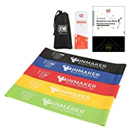 INMAKER Resistance Workout Bands with Instruction eBook, Videos, Manual and Carry Bags, Exercise Bands for Legs and Butt, Set of 5