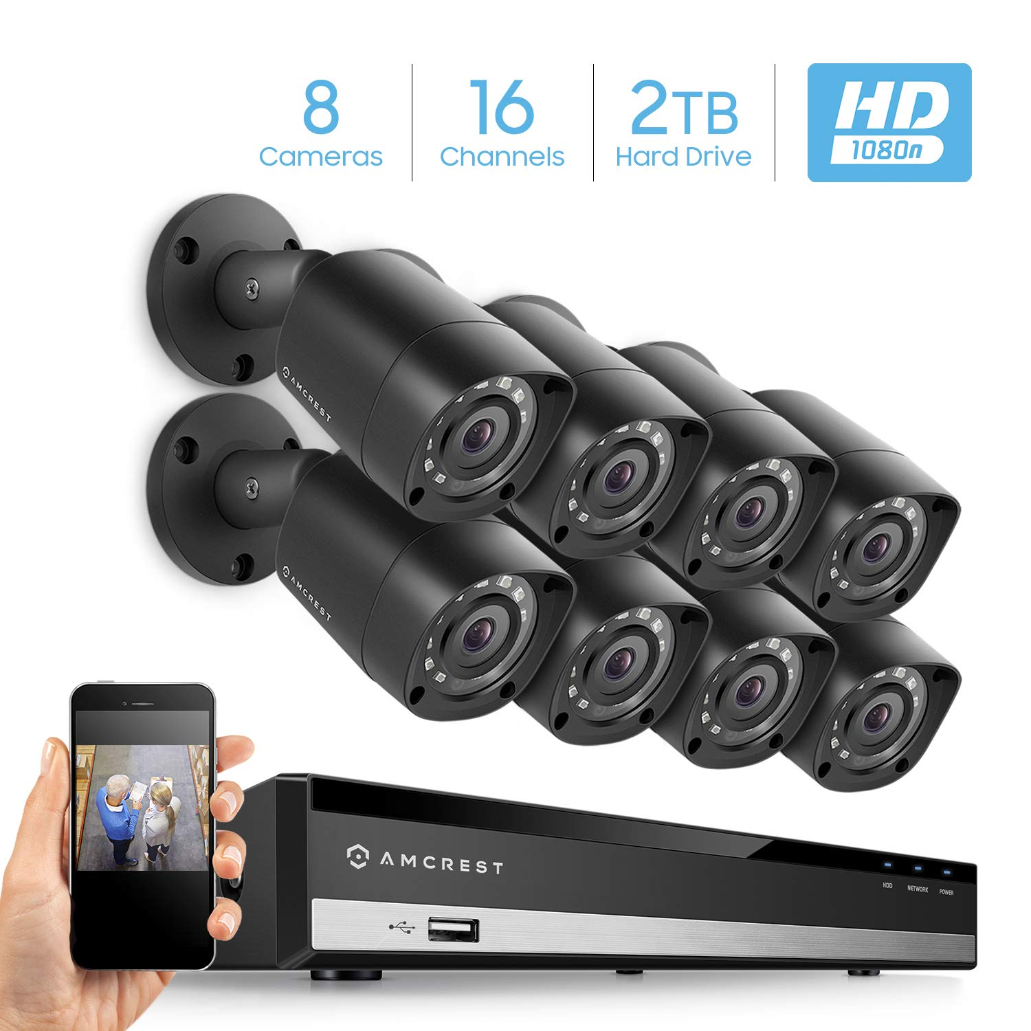 Amcrest HD 1080-Lite 16CH Video Security System w 8 x 1MP IP67 Outdoor Cameras, 65ft Night Vision, Pre-Installed 2TB HDD, Supports AHD, CVI, TVI, Analog, Amcrest IP Cameras AMDVTENL16-8B-B-2TB