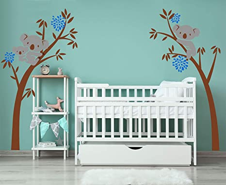 Modern Kids Room Tree Decal Follow the Little Rabbit Tree Branches Wall Decal Neutral Colors