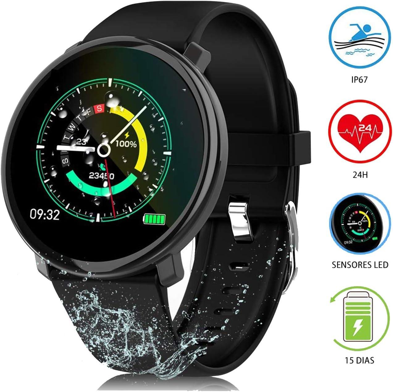 Ideal Swan Reloj Inteligentes Mujer Hombre Deportivos Smartwatch Impermeable IP67 Pulsera Actividad Fitness Tracker con Pulsómetro, Monitor de Sueño, Podómetro para iOS y Android