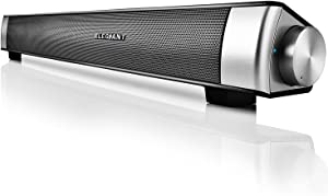 Bluetooth 5.0 Sound Bar, ELEGIANT Wired and Wireless Computer Speakers Portable Home Theater Stereo Soundbar Speaker for PC Desktop Laptop Tablet iPhone iPad Samsung Projector and Android Cellphones