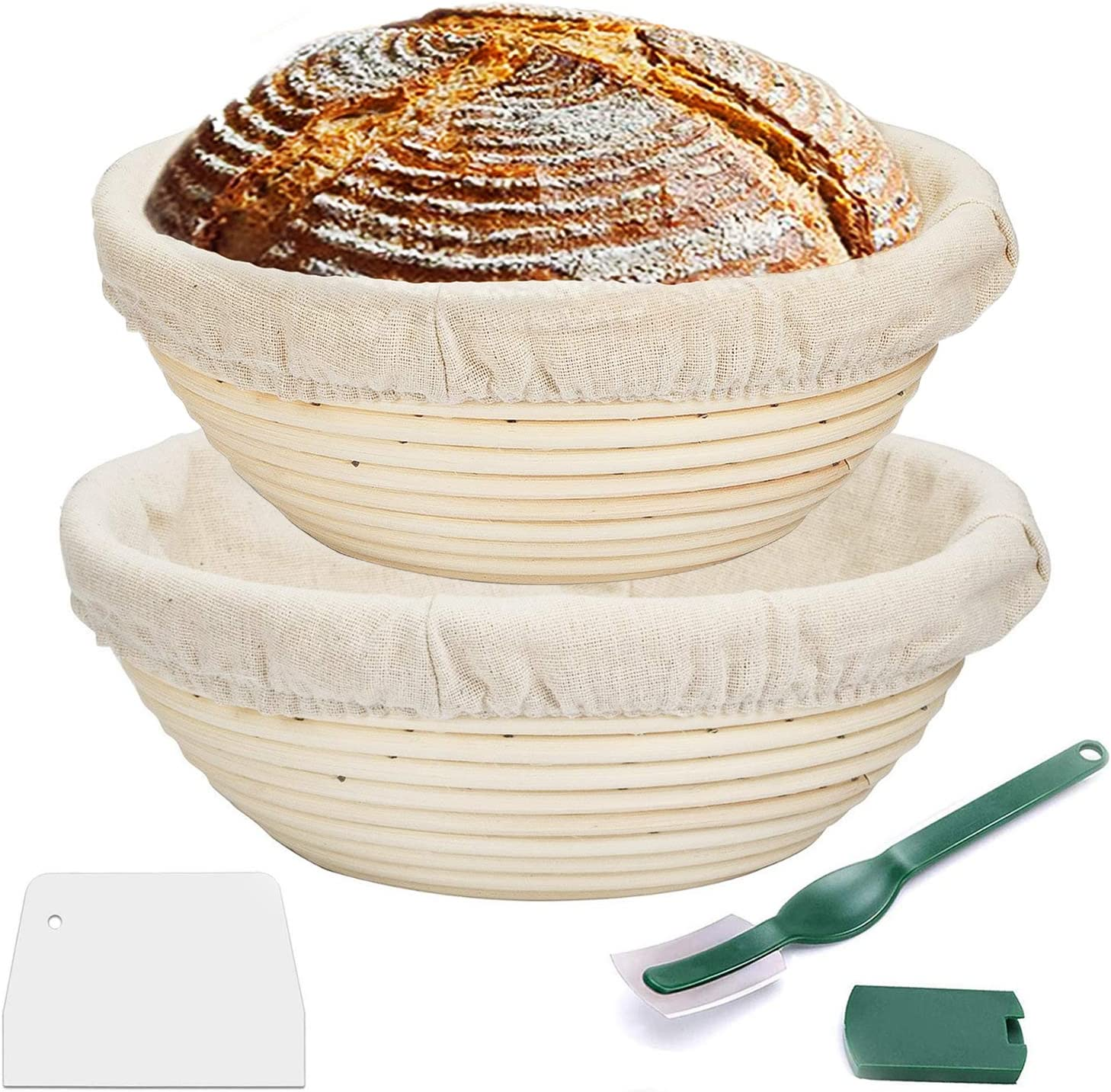 Proofing Basket,WERTIOO Bread Proofing Basket + Bread Lame +Dough Scraper+ Linen Liner Cloth for Professional & Home Bakers (2)