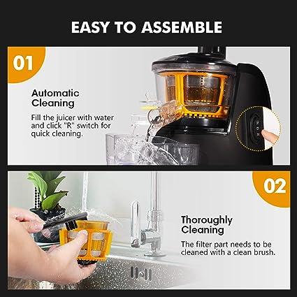 Joerid Slow Juicer - Exprimidor de frutas y verduras con motor de alto rendimiento y función de retorno, 60 U/min, sin BPA: Amazon.es: Hogar
