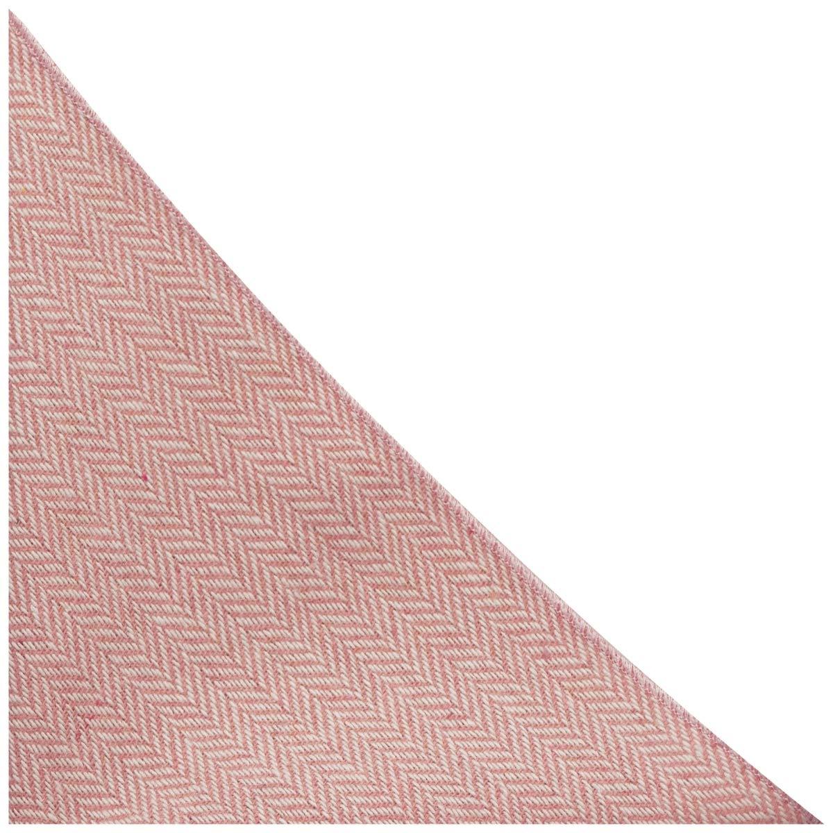 Pochette King /& Priory Fazzoletto da taschino color crema e rosa caramella in tessuto esclusivo con disegno a spina di pesce
