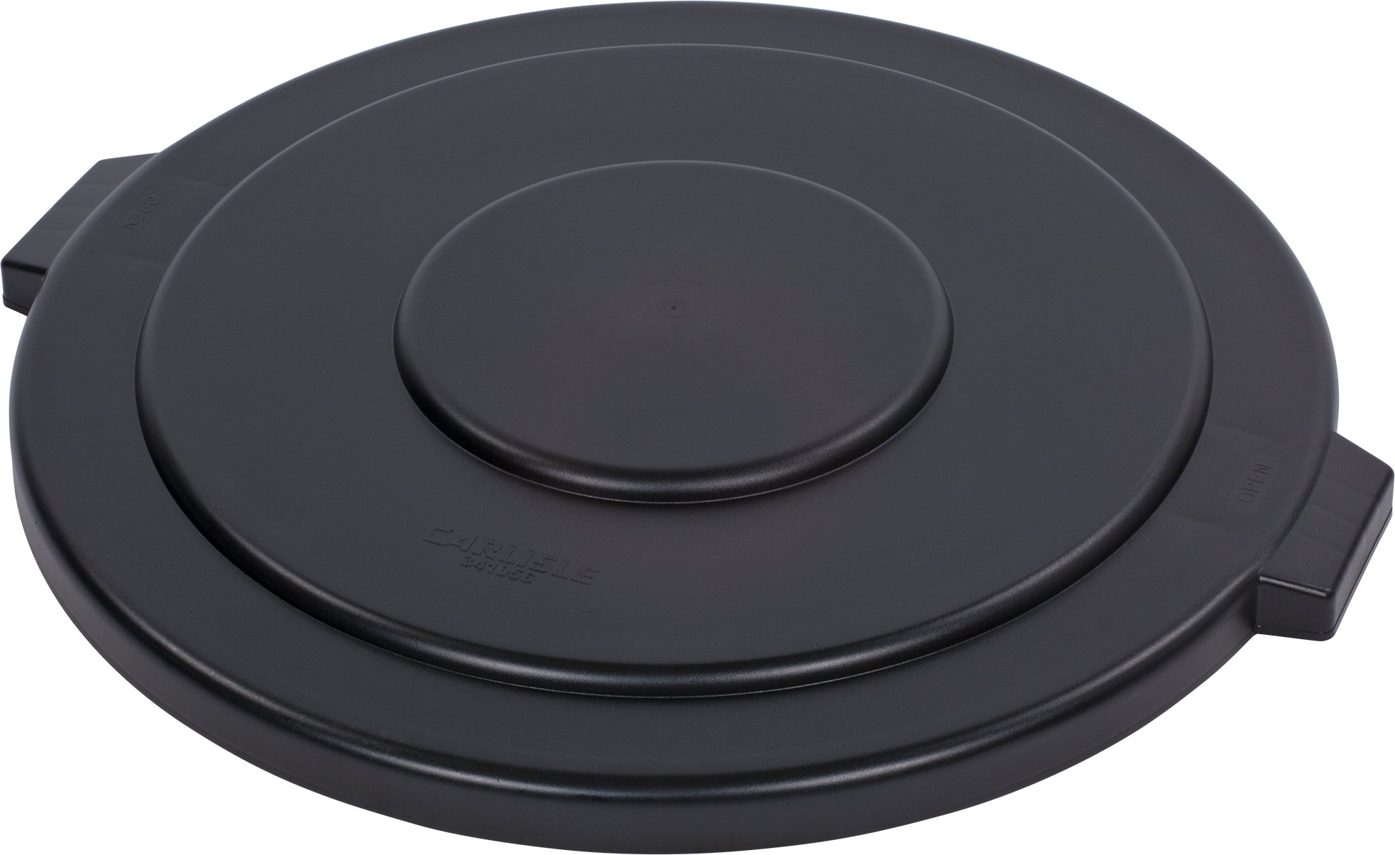 Carlisle 34105603 Bronco Round Waste Container Lid, 29.81'' Length, 29.81'' Width, 2.25'' Height, Polyethylene (LLDPE), Black, 55 gal (Pack of 2)