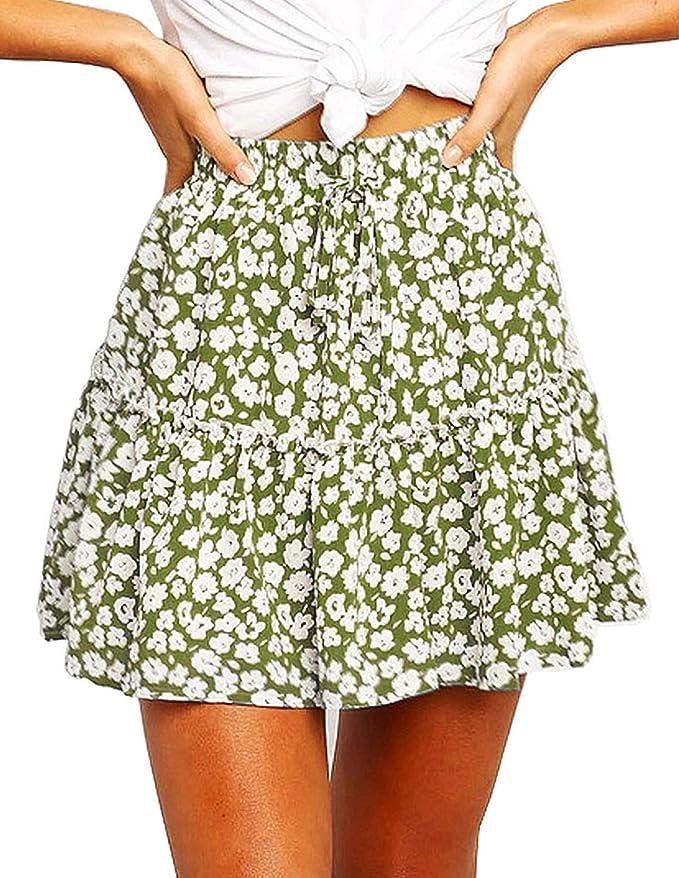 Bbonlinedress Womens Summer Boho Short Skirt High Waist Floral Ruffle Mini Skater Skirt