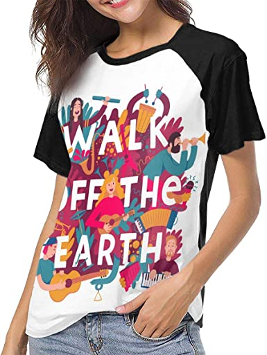 Camisa Deportiva de Manga Corta para Hombre, Walk Off The Earth Rock Band Womens Womens Baseball Short Sleeves Soft Short Sleeve Loose T Shirts: Amazon.es: Ropa y accesorios