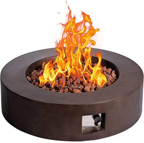 SIUSUMFO Propane Fire Pit Table, 42-inch Dark Bronze Round Gas Fire Pit with 50,000 BTU Stainless Steel Burner and Free Lava Rocks for Garden Backyard Courtyard Balcony