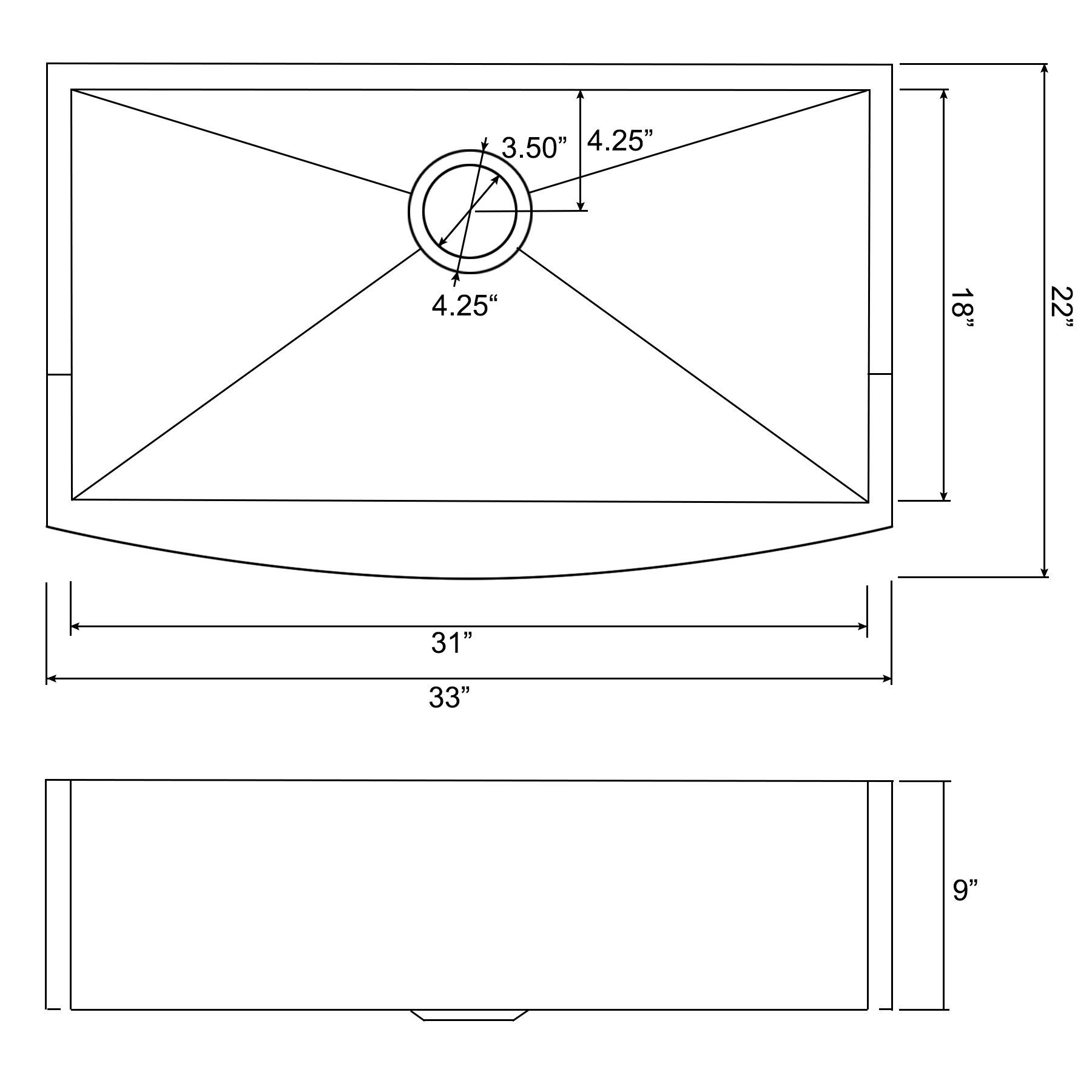 Perfetto Kitchen and Bath 33'' x 22'' x 9'' Apron Undermount Handmade 18 Gauge Stainless Steel Single Basin Kitchen Sink w/ Dish Grid & Drain Combo by Perfetto Kitchen and Bath (Image #2)