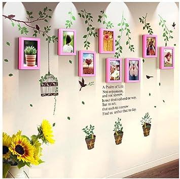 Dekoration Wandaufkleber 8 Behälter Grün Rustikale Solide Holz Bilderrahmen  Wand Aufkleber Kombination