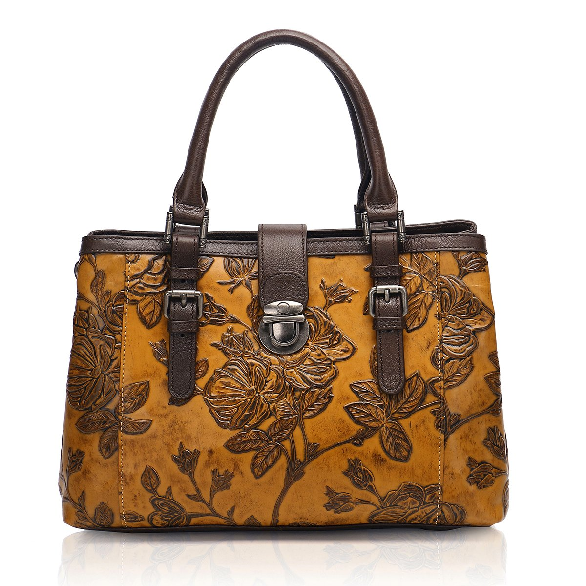 APHISON Designer Unique Embossed Floral Cowhide Leather Tote Style Ladies Top Handle Bags Handbags C817 (BROWN)