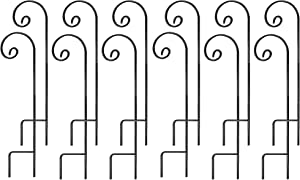 Ashman Shepherd Hook 35 Inch 12 Pack, 1/2 Inch Thick, Made of Premium Metal for Hanging Bird Feeders, Mason Jars, Plant Hangers, Flower Basket, Christmas Lights, Lanterns, Garden Stakes and Weddings