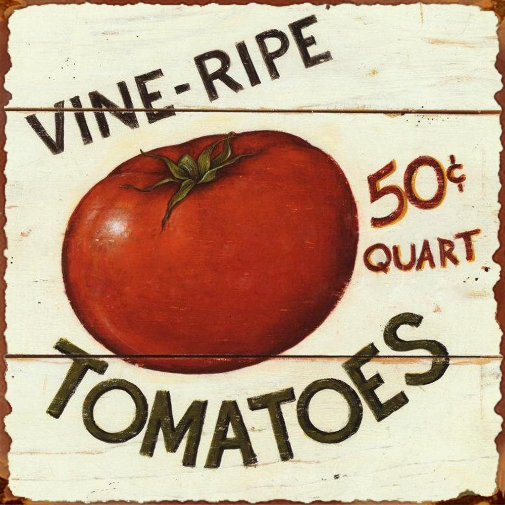 Barnyard Designs Vine Ripe Tomatoes Retro Vintage Tin Bar Sign Country Home Decor 11'' x 11''