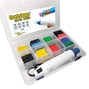 Craftsboys 530pcs 2:1 Heat Shrink Tubing + Hot Air Gun, Heat Gun, Electrical Wire Cable Wrap Assortment Electric Insulation Heat Shrink Tube Kit