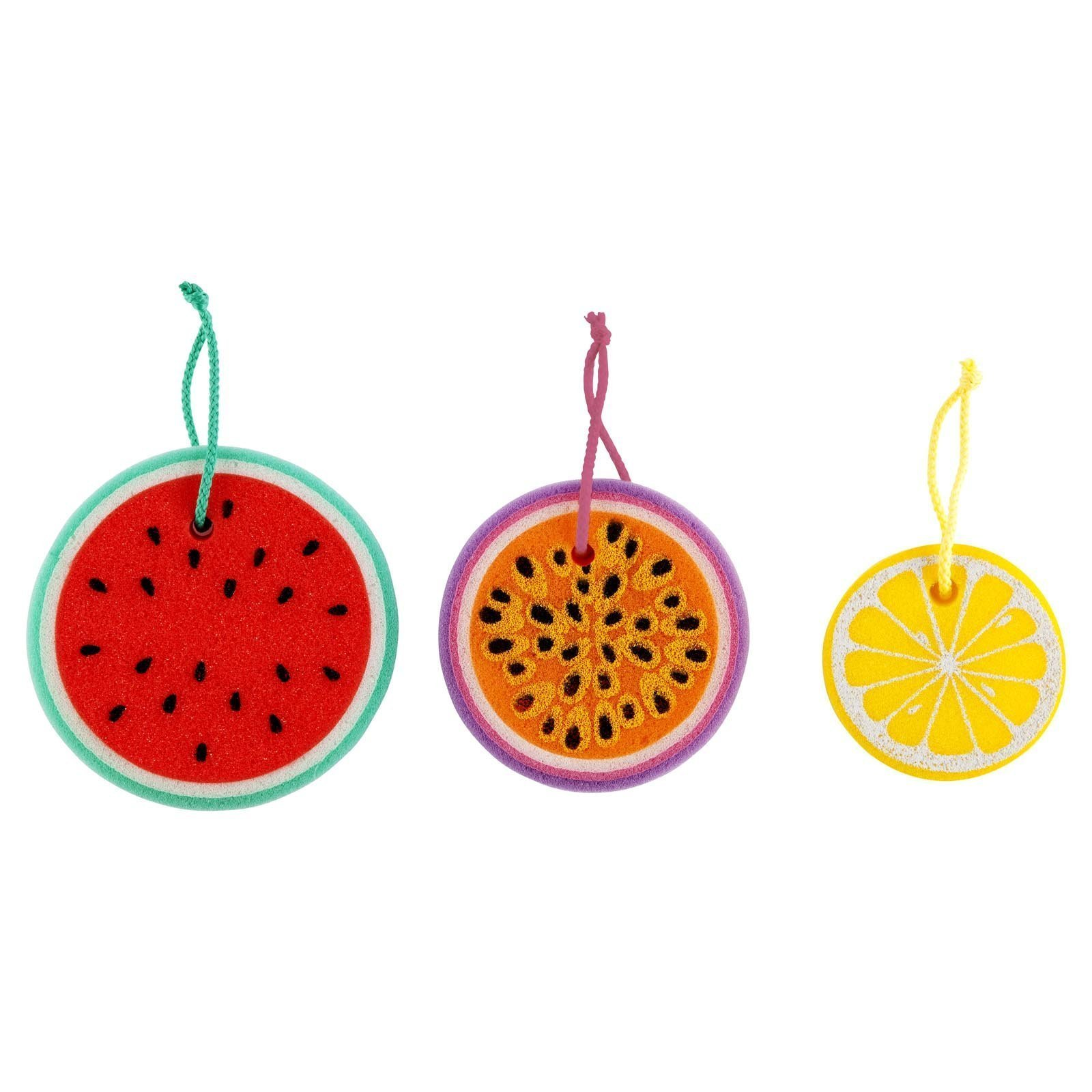 SunnyLIFE Colourful Bath & Shower Sponge Sets In Fun Designs - Fruit Salad Multi