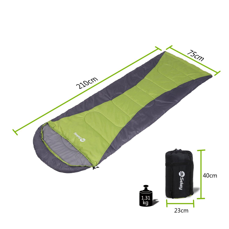 Sekey (190 + 30 x75 cm Impermeable Saco de Dormir Modular | Camping Saco de Dormir con Bolsa, Adecuado para Camping, Viajes, Senderismo o Interior, ...