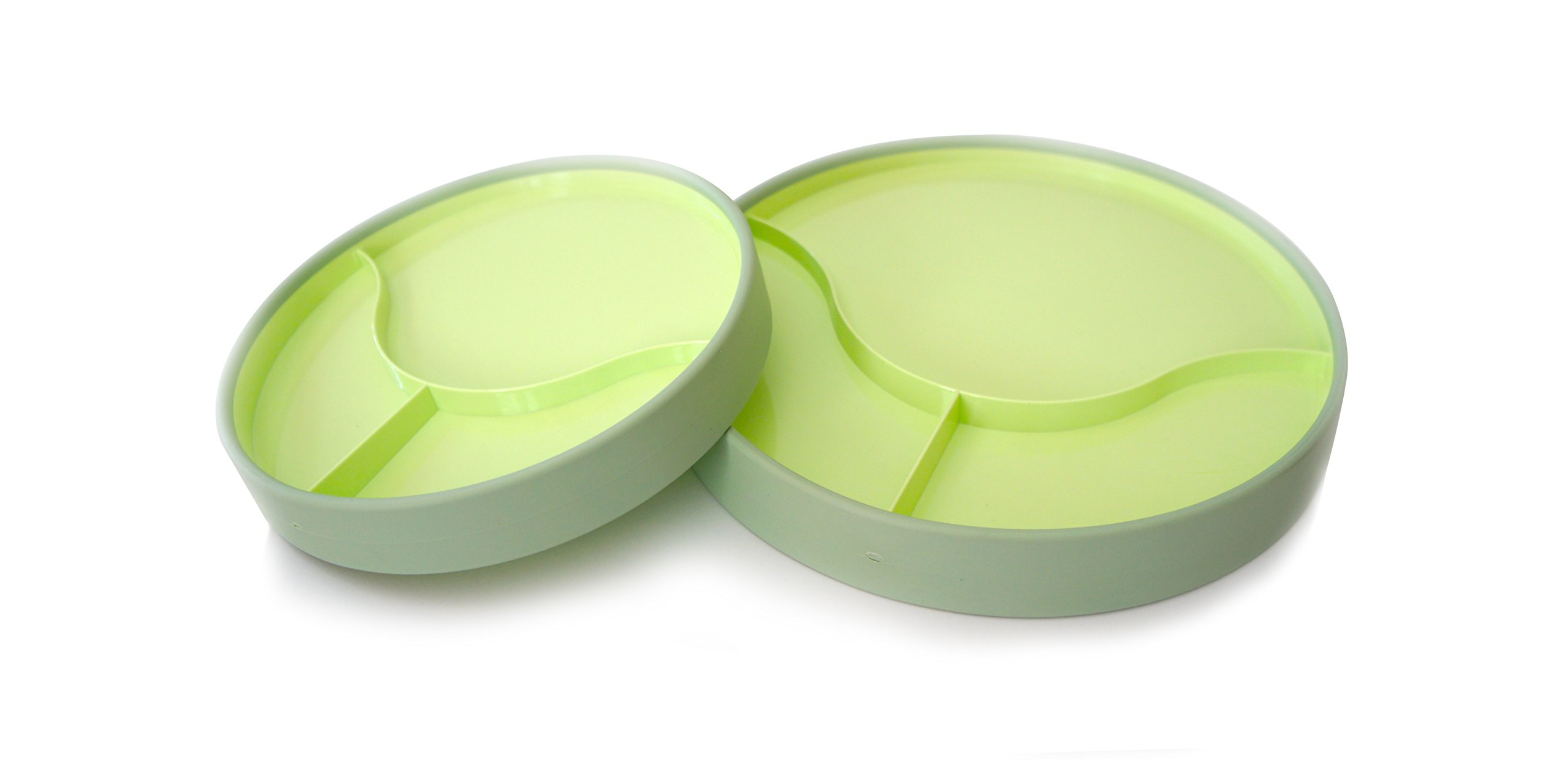 "STAYnEAT Reversible Suction Plate Set, 2 Sided, Sloped, Divided, 7.5"" and 9.5"" Green by STAYWARE"