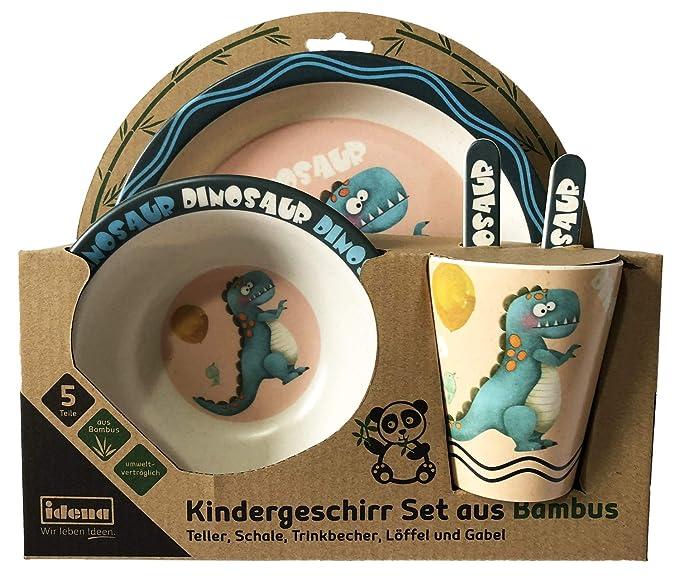 Idena 40123 - Vajilla infantil (bambú), diseño de dinosaurio, color azul