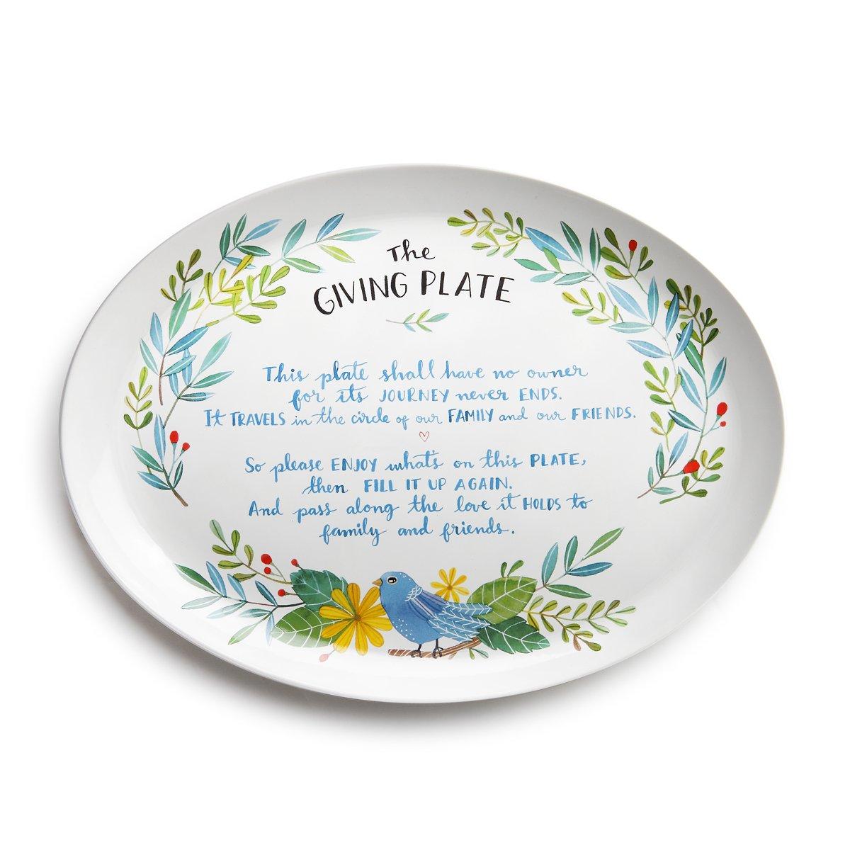 Traditional Giving Bird Blue Green Florish 12 x 9 Earthenware Oval Platter Demdaco 1004100008