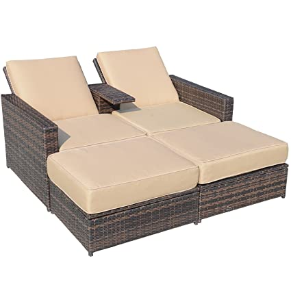 Incredible Outsunny Outdoor 3 Piece Pe Rattan Wicker Patio Love Seat Lounge Chair Set Caraccident5 Cool Chair Designs And Ideas Caraccident5Info