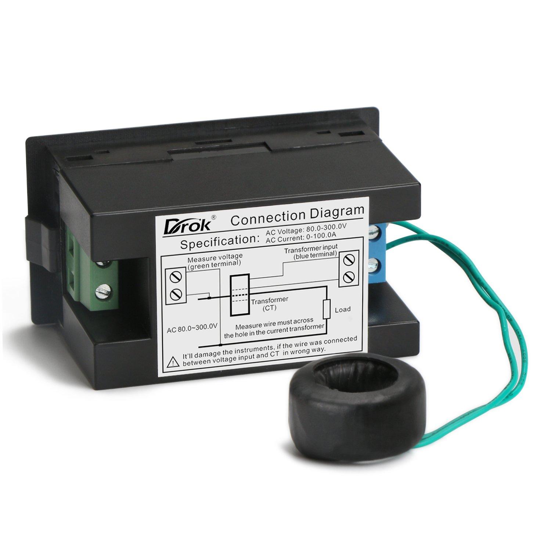 Wiring Voltmeter Ammeter Drok Choice Trusted Diagrams Digital Volt Amp Meter Diagram Ac Multimeter 80 300v 0 100a Watt