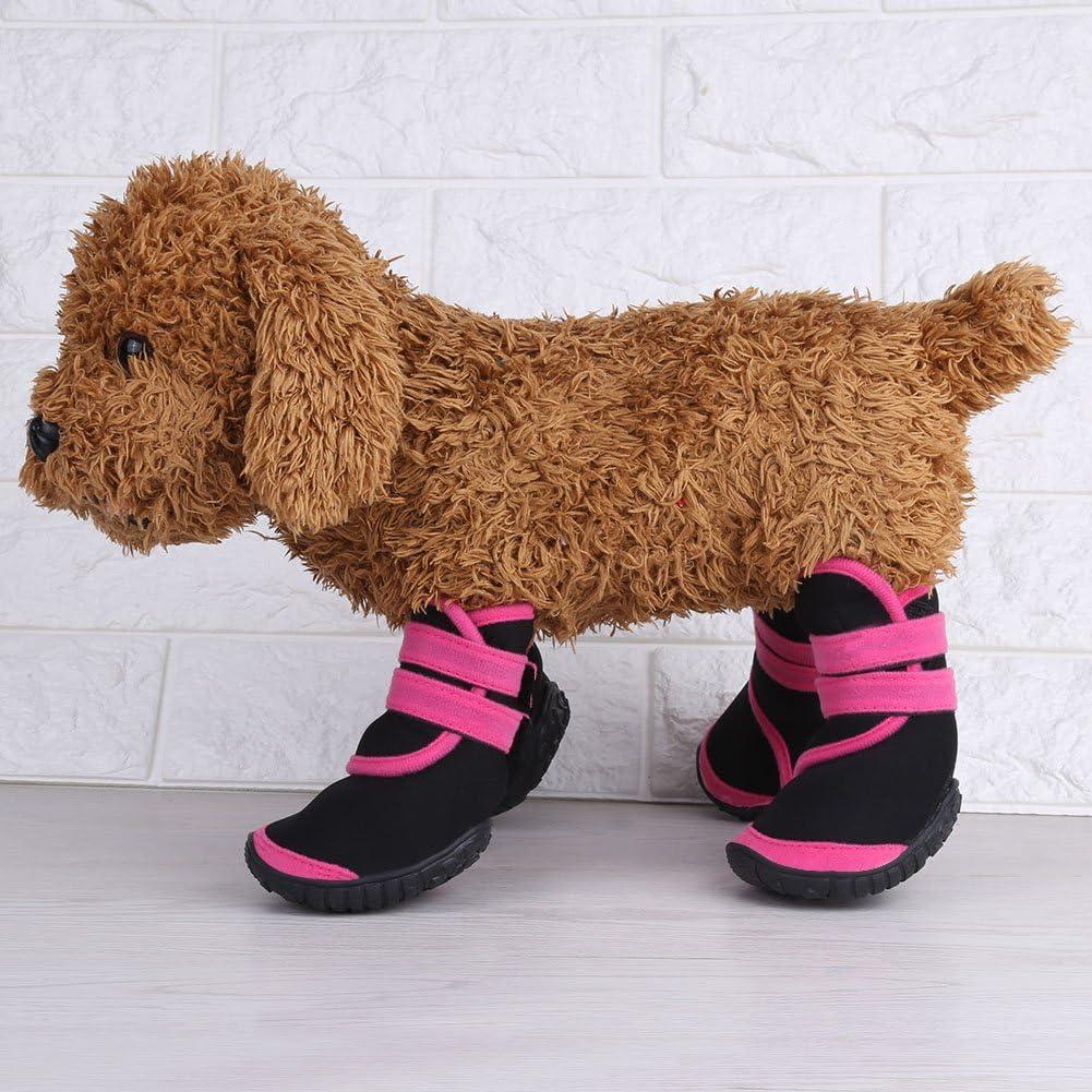 2-Pink Protective Pet Dog Boots Warm Waterproof Washable Reusable Anti-Slip Puppy Winter Shoes 4Pcs//Set