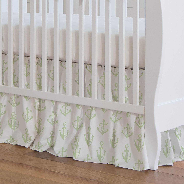 Carousel Designs Seafoam Aqua Anchors Crib Skirt 17-Inch Gathered 17-Inch Length - Organic 100% Cotton Crib Skirt - Made in The USA