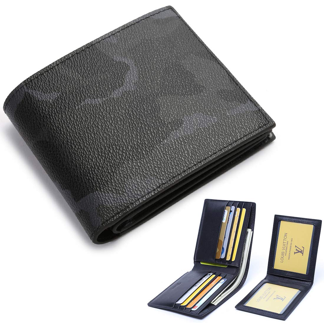1fc21f474774 BABAMA Mens Wallets Camo Premium Leather Army Camouflage Bifold Slim Wallet  for Boy with Removable 2 ID Card Holder