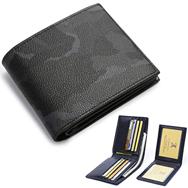 f58f76002148 BABAMA Men s Wallets Top Quality Army Camo Leather Bifold Fashionable Slim  Military Wallet Passcase with Removable