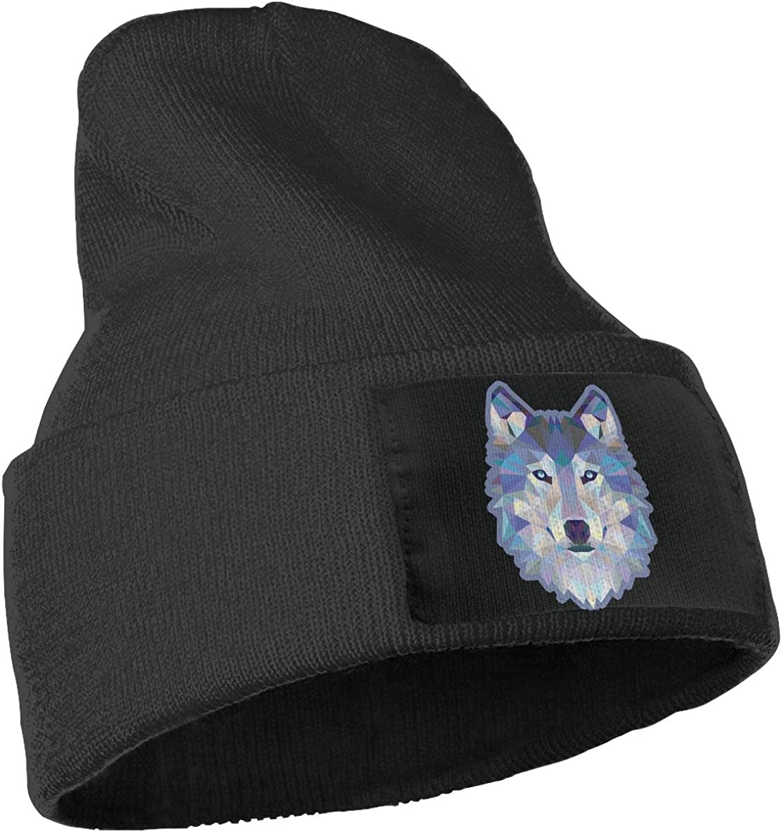 Blue Wolf Printed Warm Winter Hat Knit Beanie Skull Cap Cuff Beanie Hat Winter Hats for Men /& Women