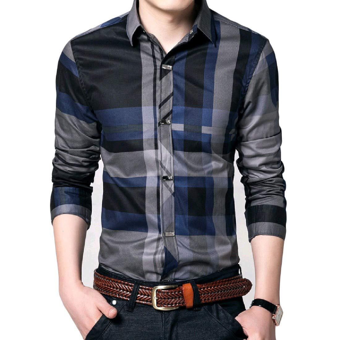 VITryst-Men Classics Plaid Plus Size Business Lounge Polo Shirt